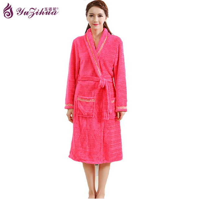 Yuzihua Flannel Robe Women\'s Robes Thicker Bathrobes Pijamas ...