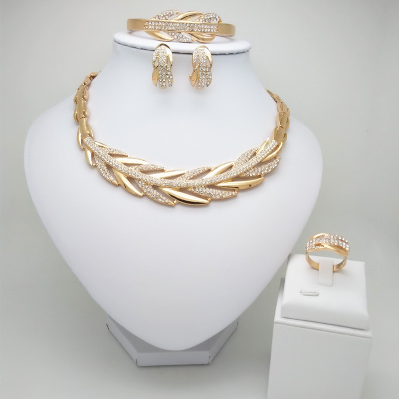 Wedding-Jewelry-Set Necklace Bracelet Kingdom-Ma Nigerian Beads Bridal-Dubai Gold-Color