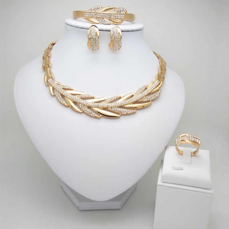 Kingdom Ma Nigerian Beads Wedding Jewelry Set Bridal Dubai Gold Color Jewelry Sets African Beads Necklace Bracelet Jewelry Set