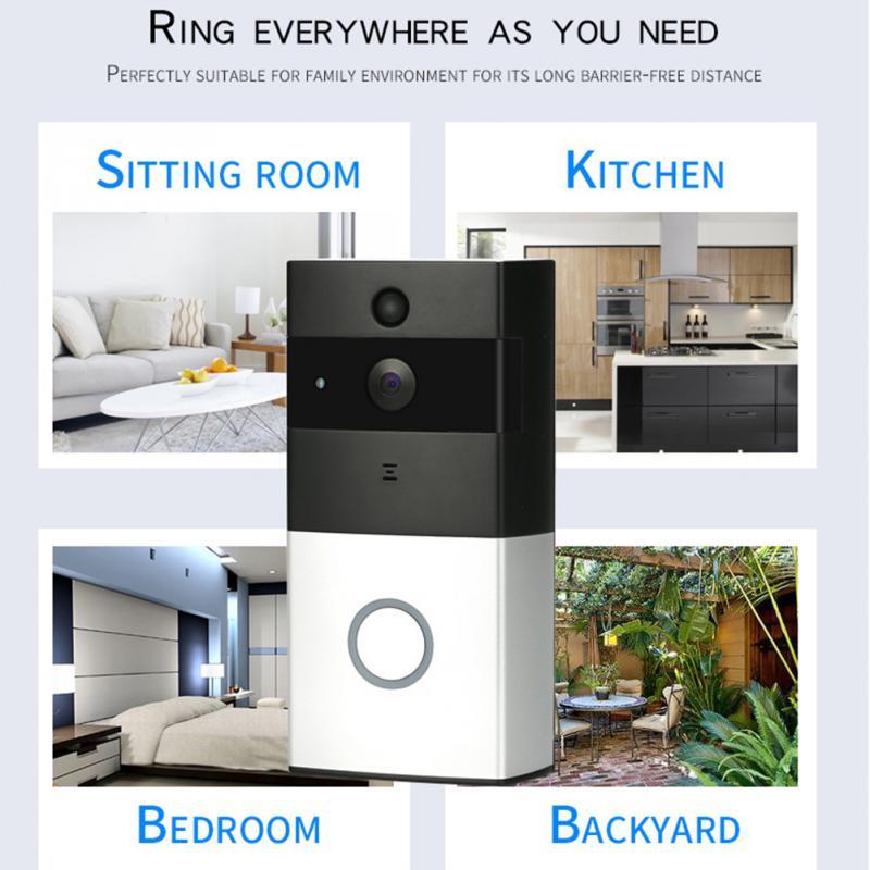 New Household WIFI Wireless Visual Intercom Doorbell Low Consumption Smart Doorbell Home Use Silver Gray*