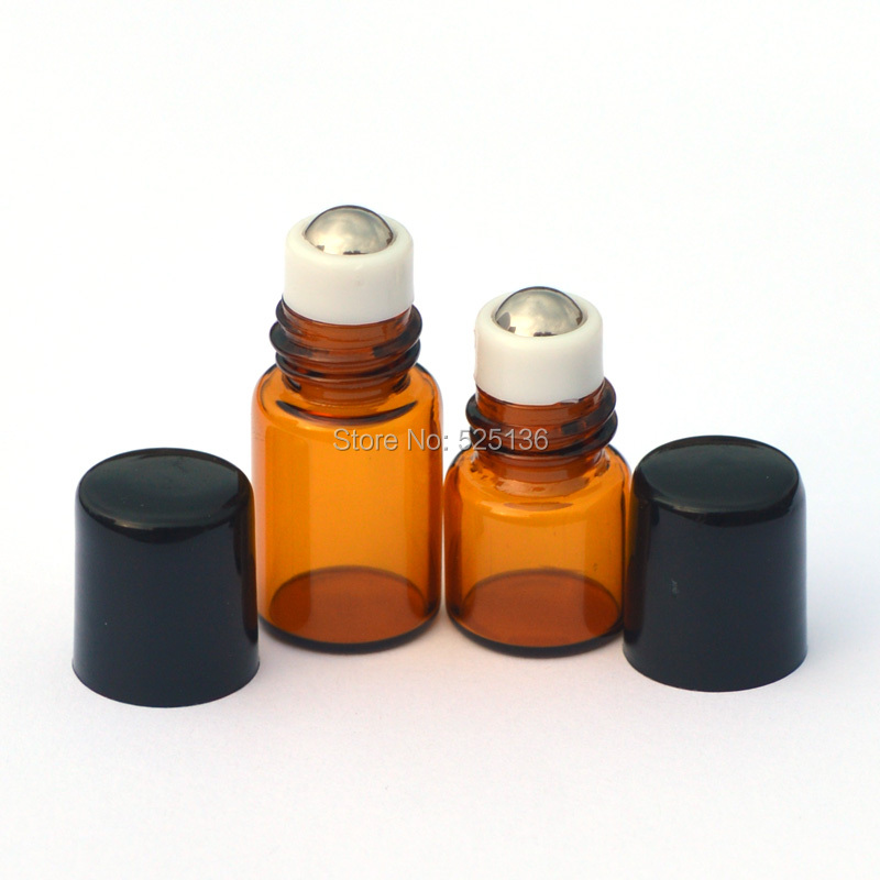100Pcs/Lot 1ML 2ML Glass Roll on Bottle with Stainless Steel roller Small Essential Oil Roller-on bottle купить