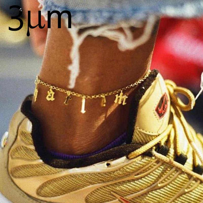 3 UMeter เก่าชื่อข้อเท้า Gothic pepndent Beauty Custom Vintage ตัวอักษรส่วนบุคคล Tiny จี้ Anklets สำหรับ Etsy