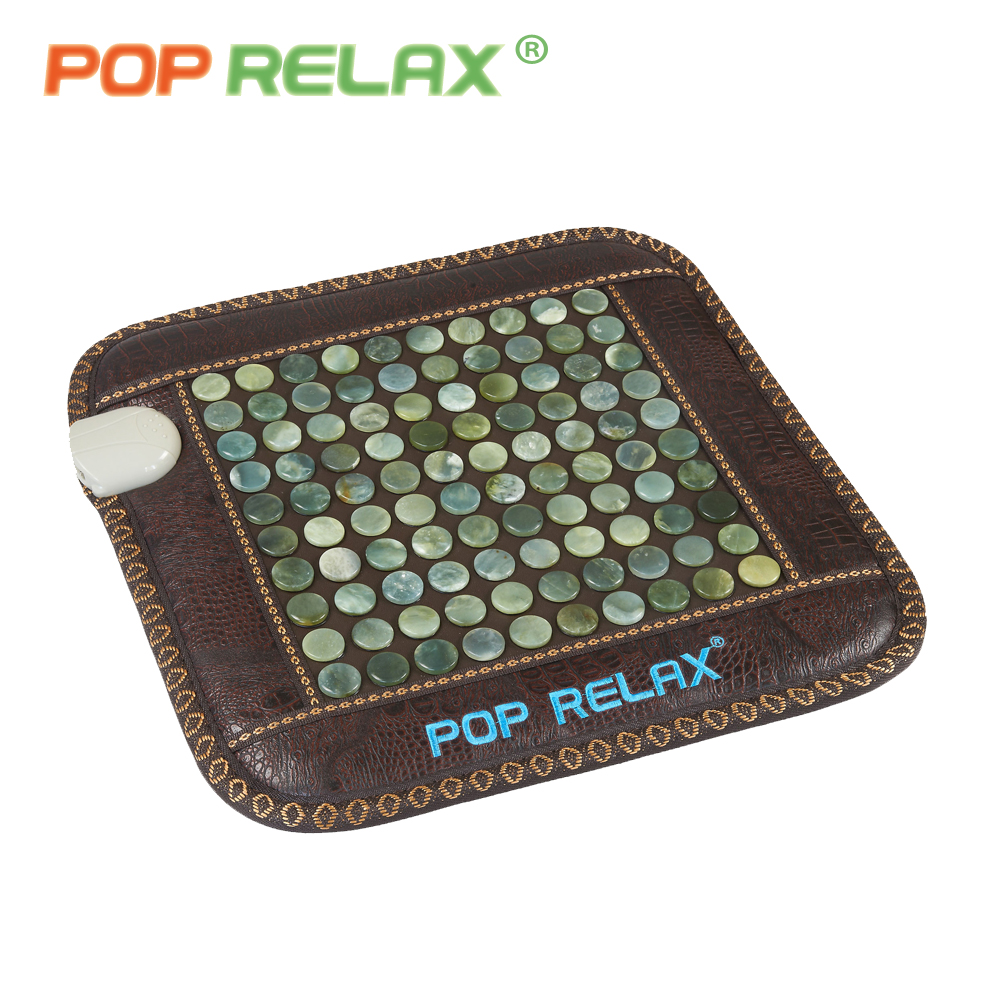 POP RELAX health care jade sitting mattress far infrared heating therapy natural jade stone mat pad office chair mattress 110V 2 sets ball the plum flower jade handball furnishing articles hand bead natural jade health care gifts