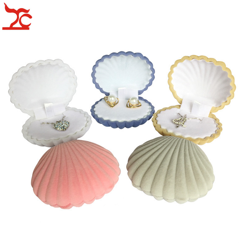 Bulk Sale 10Pcs Cute Shell Shape Velvet Earring Case Engagement  Party Necklace Pendant Jewelry Display Storage Wedding Gift Box