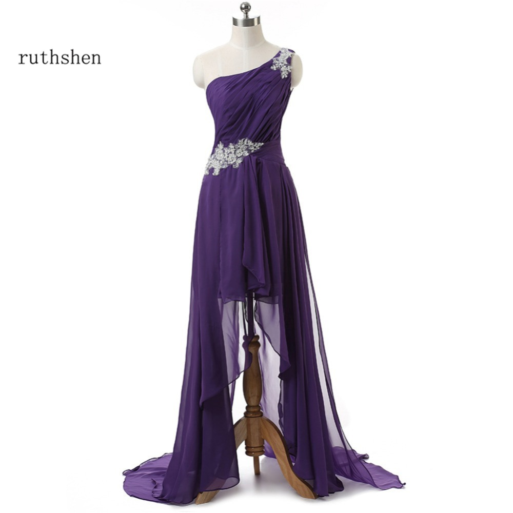 Ruthshen Sexy High Low Prom Dresses Cheap One Shoulder Asymmetrical Short Front Long Back  Appliques Beaded Evening Gowns