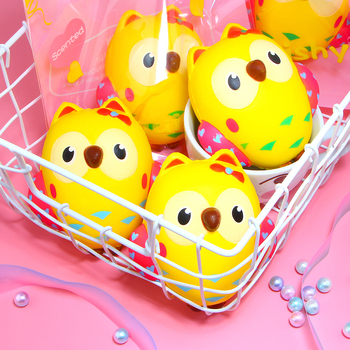 Cute Yellow Owl Squishy Slow Rising Cream Scented Squeeze Toys Kids Toys Doll Stress Relief Toy Original Packaging 1pc cute bread squishy slow rising cream scented decompression toys squeeze squishie slow rising stress relief toy kids bl5