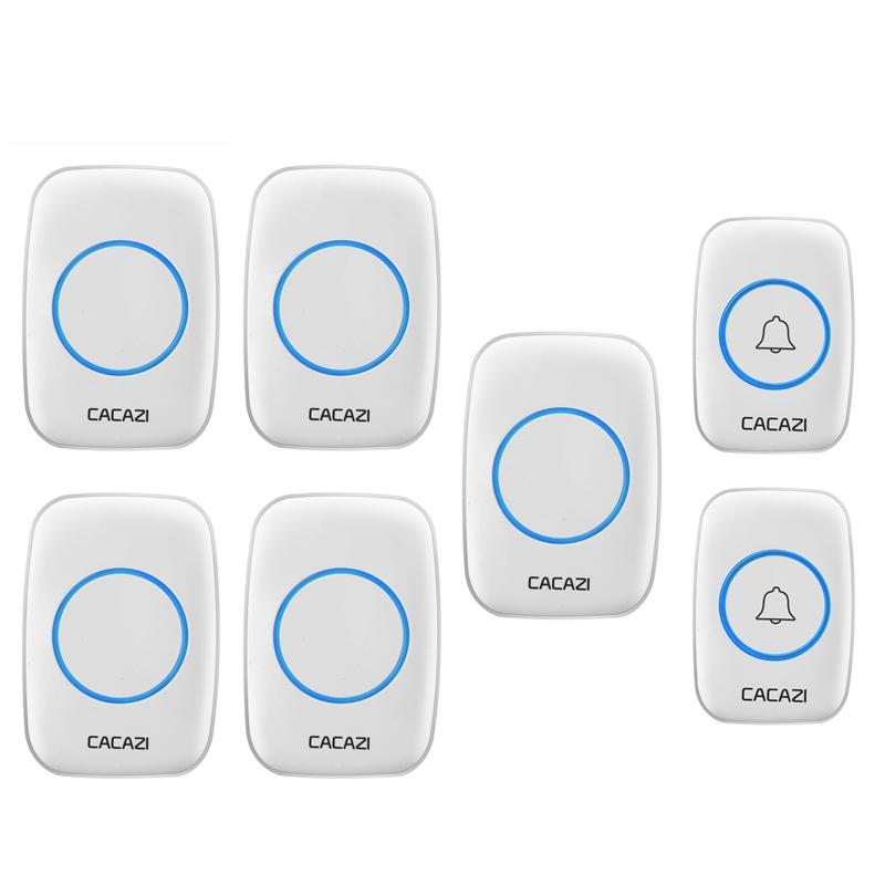 CACAZI AC 100-240V wireless doorbell 2 waterproof transmitters+5 receiverS 300M remote door bell home 38 chimes door ring new saful waterproof electric wireless door bell 220v 28 ring bell doorbell button 2out transmitters 4 doorbells receivers