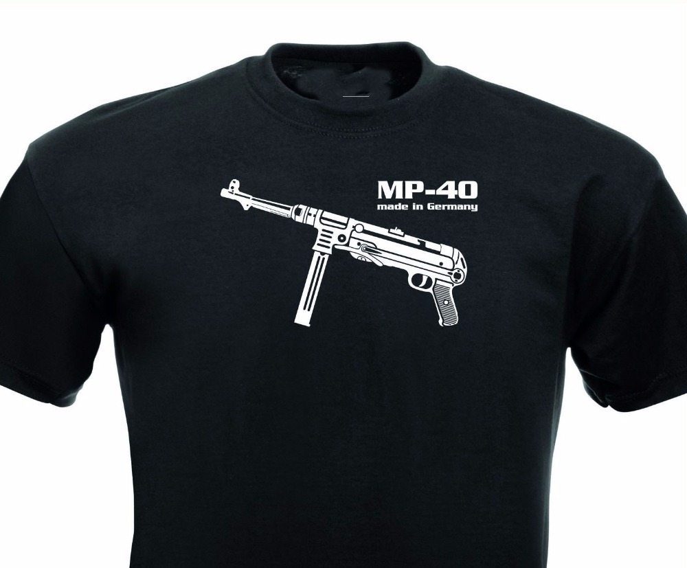 Different colors high quality casual s street wear short sleeve Tee shirt Mp 40 Maschinen pistol Germany Wehrmacht image