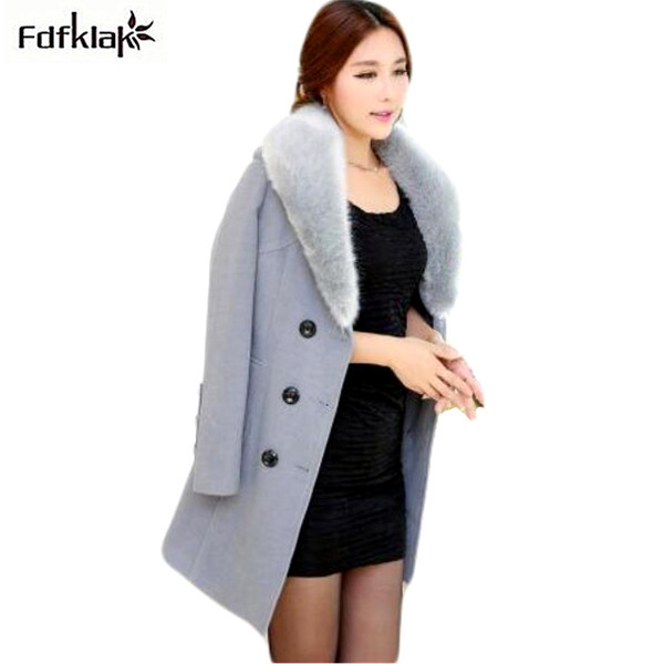 winterjas dames 2017 fashion fur wool coat double breasted long winter coats women slim plus size woolen jackets M-4XL Q412
