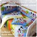 Descuento! 6 / 7 unids Mickey Mouse niños juegos de sábanas cuna / cuna juegos de cuna juego de cama, 120 * 60 / 120 * 70 cm