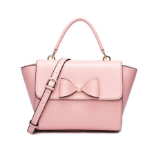 Women s Versatile Bow Knot Textured Leather Trapeze Small Satchel Tote Purse Top Handle Handbag Shoulder