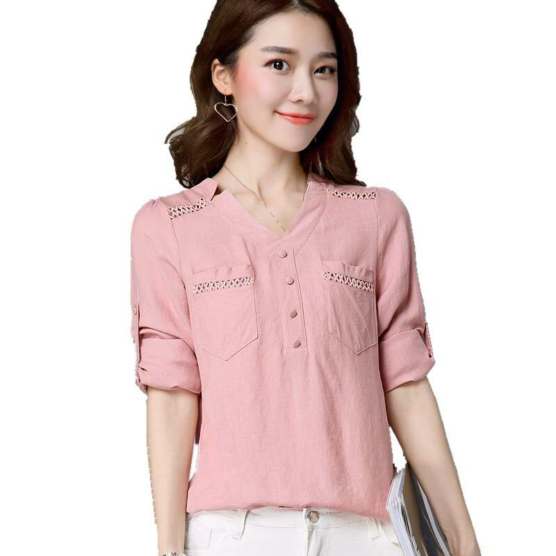 Larga Azul rosado V Blusa Mujeres Tamaño S4040 Blusas blanco cuello Casual  Grande Camisas Ropa Cielo ... d81abc37aafb
