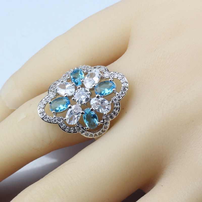 11-צבע 925 סטרלינג כסף ים כחול קריסטל תכשיטי סטים לנשים עגיל טבעת תליון שרשראות שרשרת מכר קישוט