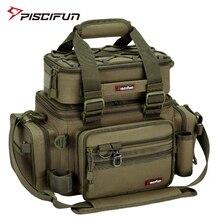 Piscifun saco de pesca multifuncional, bolsa de pesca grande armazenamento, equipamento, esportes ao ar livre, caminhadas, camping