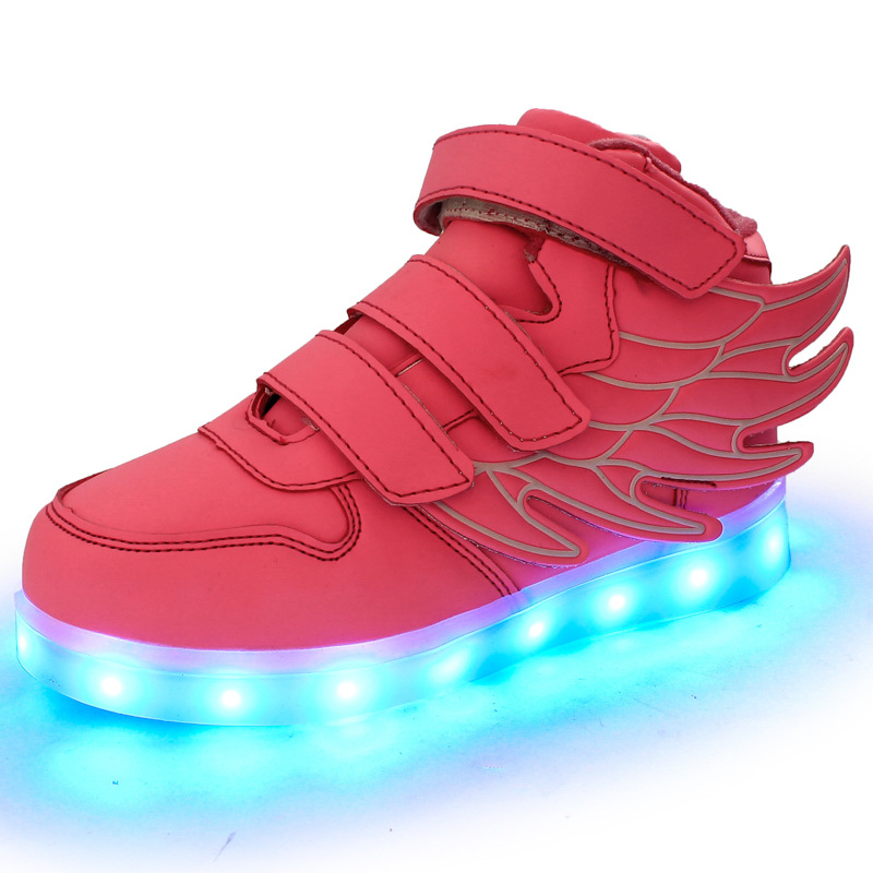 Kids-Shoes-Boys-Girls-Fashion-LED-Lights-USB-toddler-Luminous-Wings-Sneakers-Children-Comfortable-Flats-Sports-Top-high-football-4