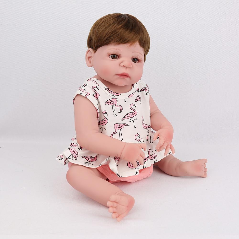 цена 22 inch 55cm Full Slicone Vinyl Reborn Baby Dolls Alive Cute Lifelike Real Realistic Kids Girls Toys Birthday Christmas Gift