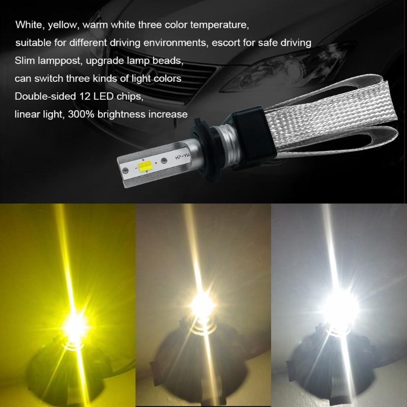 YAM 1Pair/ 2 PCS High Performance DC9-30V EMC H7 120W 20000LM LED Three-color Headlight Kit Beam Bulbs-m18