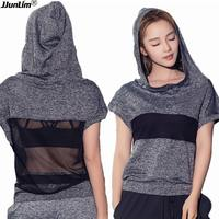 Women Fitness Top Yoga Shirt Summer Short Sleeve Hooded Running Shirt Female Workout Gym Vest Sport
