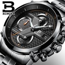 BINGER Suisse Hommes de Quartz-Montre En Acier Bande Noir Montre Chronographe Mens Watch Top Marque De Luxe Horloge Relogio Masculino Esportivo