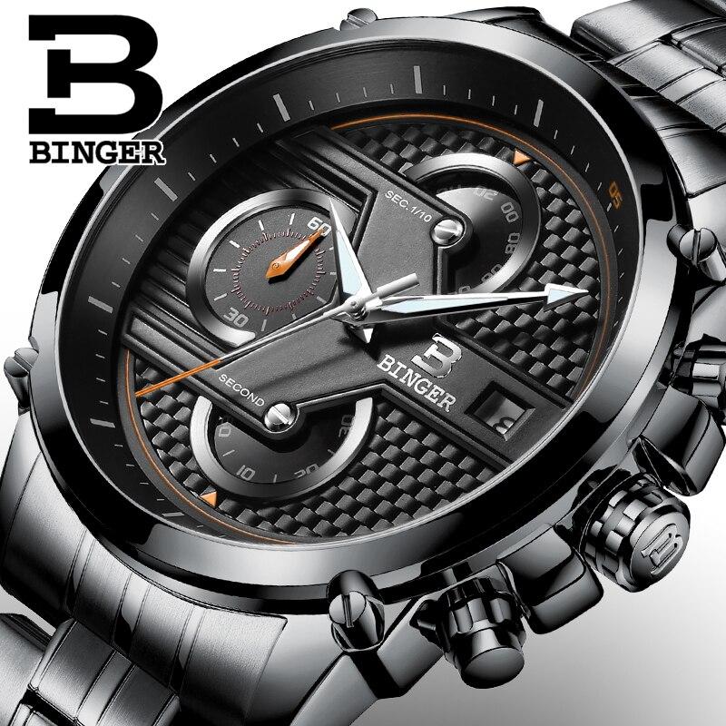 Prix pour BINGER Suisse Hommes de Quartz-Montre En Acier Bande Noir Montre Chronographe Mens Watch Top Marque De Luxe Horloge Relogio Masculino Esportivo