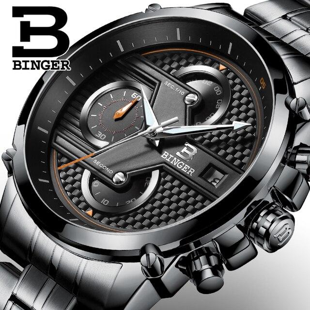 93baf7460d8 BINGER homens Relógio De Quartzo-Relógio Banda de Aço Preto Chronograph  Mens Watch Top Marca
