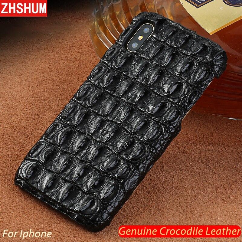 Genuino Custodia In Pelle di Coccodrillo Per iphone XS MAX XR X 8 7 6 s Più di Lusso fatti a mano Personalizza Cassa Della Pelle copertura posteriore per iphone 6 10