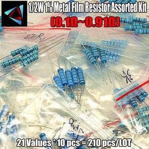 210 sztuk 21 wartości 1/2W 1% 0.1-0.91 Ohm metalu rezystor z folii wybrane elementy opakowanie