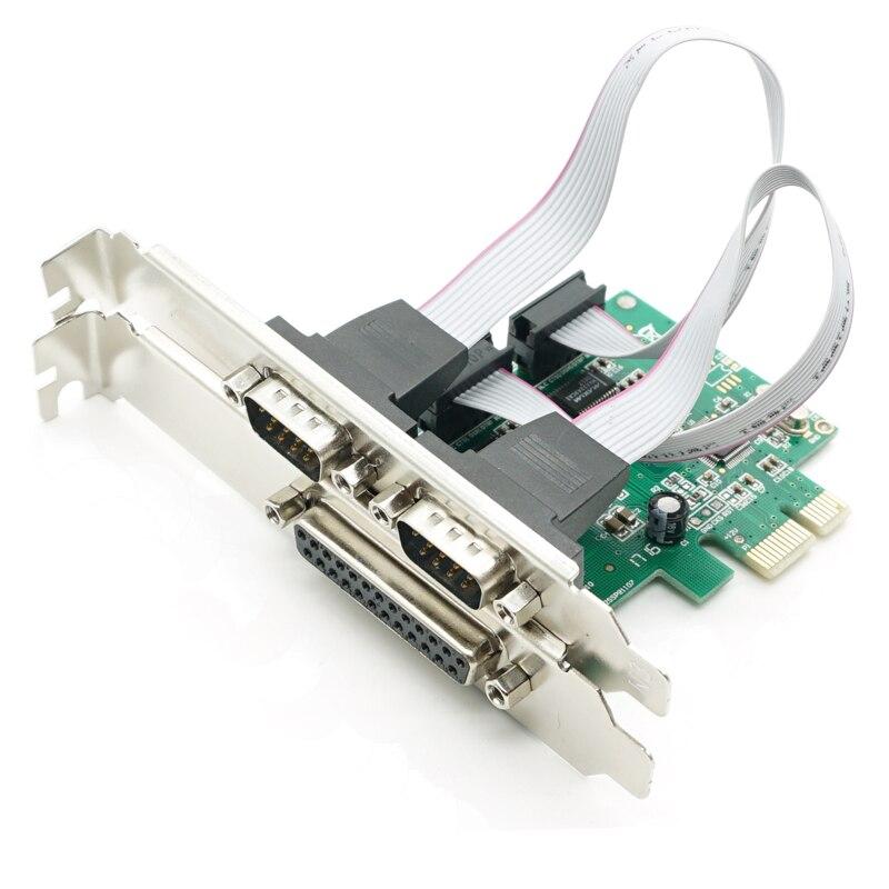 2 PORTS RS-232 Serielle schnittstelle COM DB25 Drucker Parallel Port LPT pci-e PCI Express Card Adapter Konverter WCH382 Chip DB9 DB25