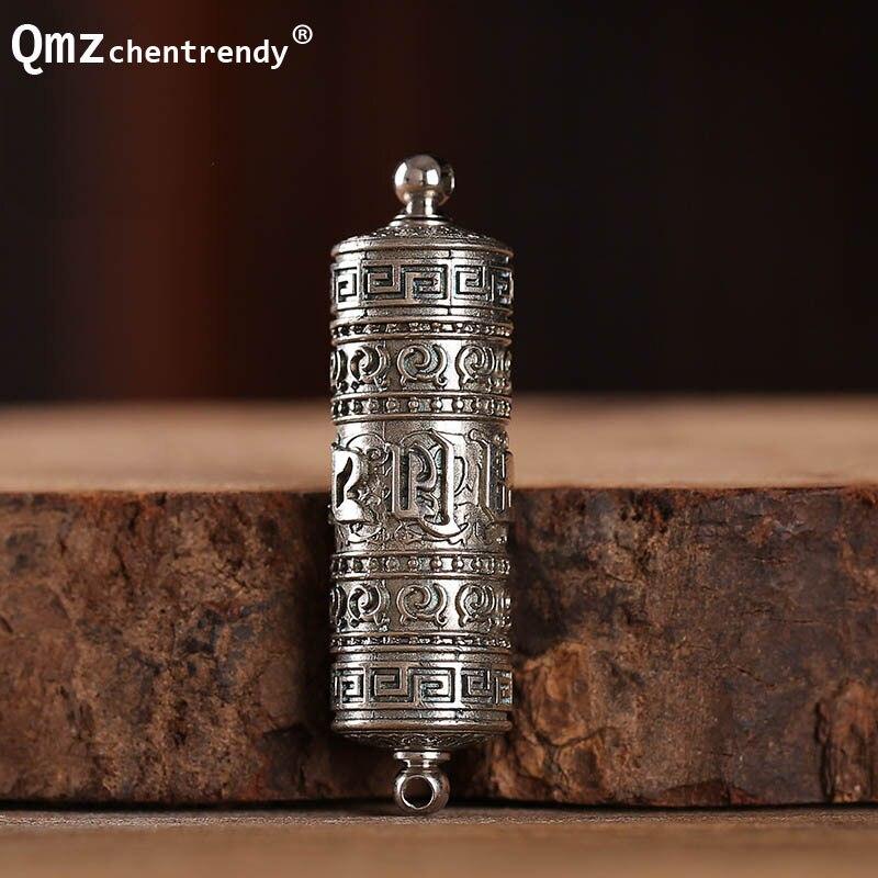 Tibet Bouddhisme Surangama Mantra Rotatif Pendentifs Collier Sanskrit Collier Amulette Prière Roue Hommes Bijoux De Cas De Stockage