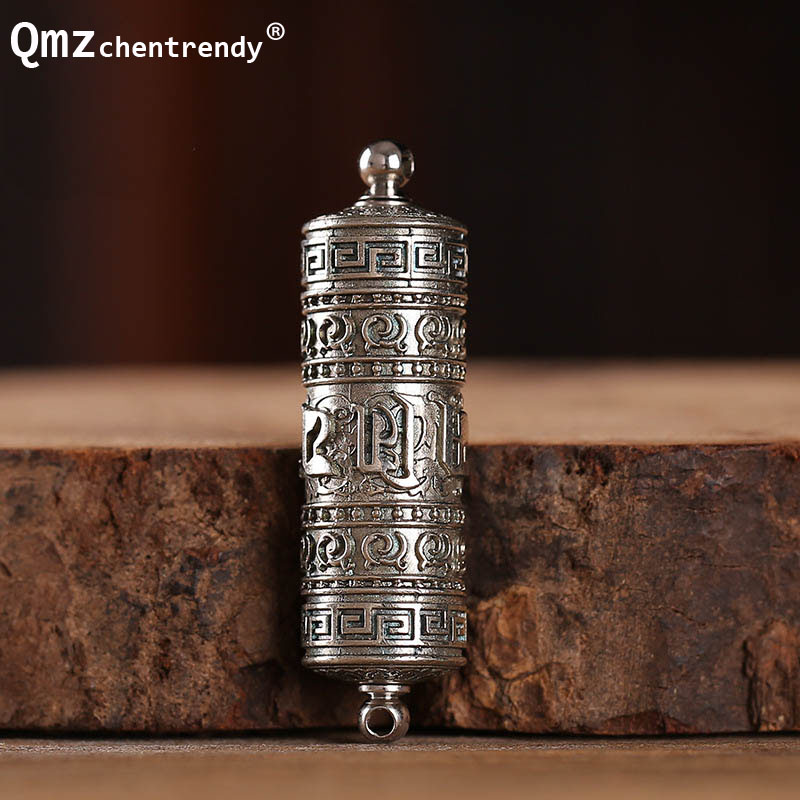 Tibet Buddhism Surangama Mantra Rotatable Pendants Necklace Sanskrit Amulet Necklace Prayer Wheel Men Storage Case Jewelry langhong 10pcs the om necklace tibet mandala necklace tibet spiritual necklace geometry amulet religious jewelry