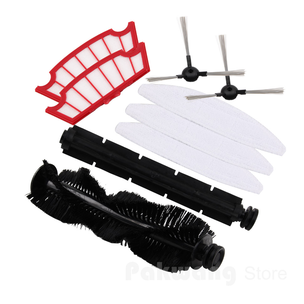 XR210 Robot Vacuum Cleaner Accessories: Hair Brush and Rubber Brush 1 pc, Side Brush and Filter 2 pcs, Mop 3 pcs new japanese original authentic mxf8 20