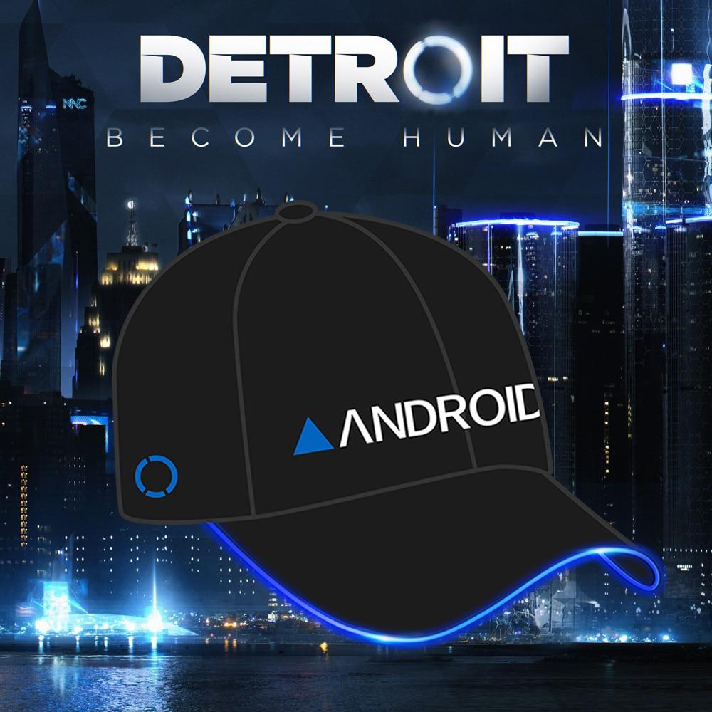 Detroit: Become Human Led Lights Cap Connor Cosplay Hip Hop Hat Unisex Adjustable Baseball Caps for Women Men Props