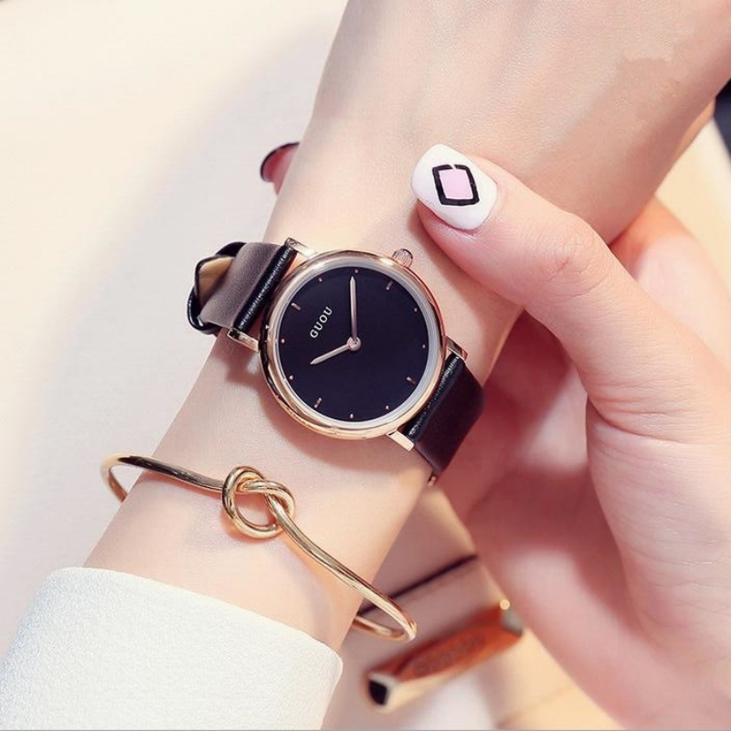 GUOU Quality Womem Wrist Watches Rose Gold Women's Watches Vogue Leather Ladies Watch bayan saat montre femme Clock reloj mujer cartoon gold horse print blue leather strap sports ladies quartz watch relojes hombre 2017 bayan saat women watches hodinky b133