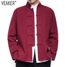 2e4d0cabac98e 2018 Sonbahar Yeni erkek Çin Tarzı Pamuk Keten Ceket Gevşek Kimono Hırka  Erkekler Düz Renk Keten Kabanlar Ceket Palto m-5XL