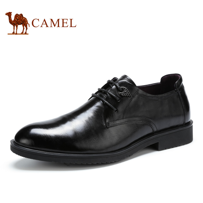 купить Camel 2016 new autumn men's flat genuine leather lacing men's shoes classic office business leather shoes pointed toe A632213610 недорого