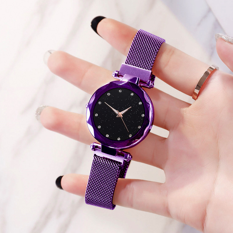 Cncool women quartz wristwatch romantic magnetic starry sky shine crystal female watches clock relogio feminino zegarek damski