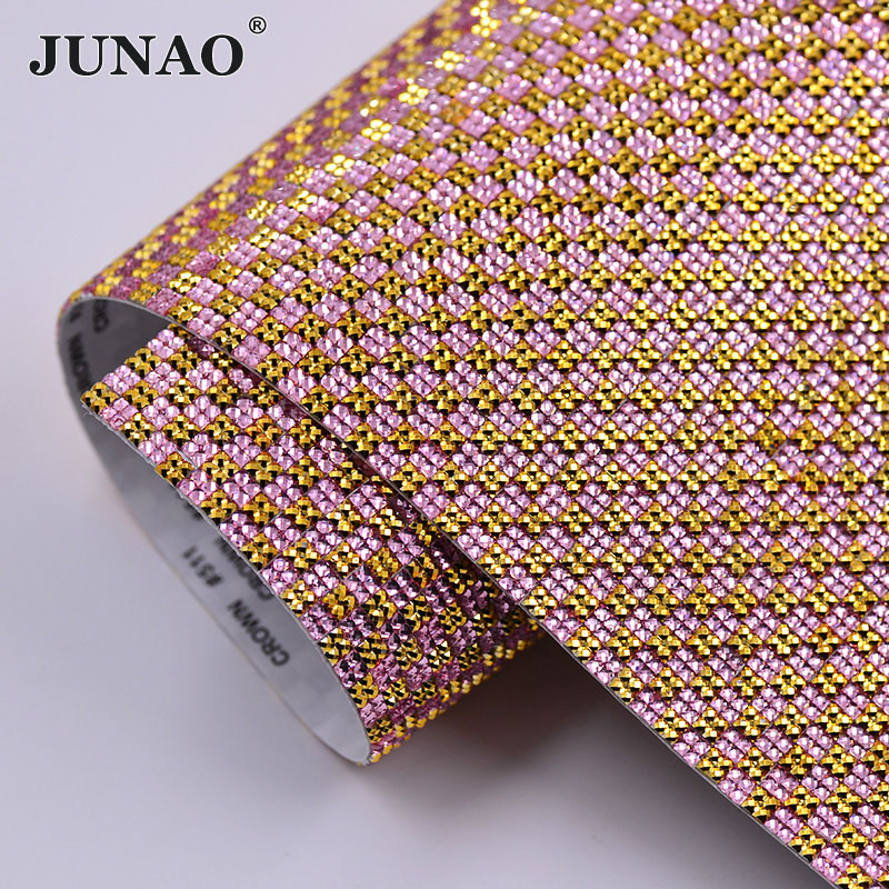 JUNAO 24x40cm Black Silver Self Adhesive Crystal Mesh Rhinestones Fabric  Trim Square Crystals Sheet Glue On Resin Strass Rolls-in Rhinestones from  Home ... dcffd8d9a4c5