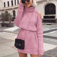 Autumn Winter Long Sleeve Sweaters Turtleneck Sweater Dress Shoulderless Women Straight Vestidos