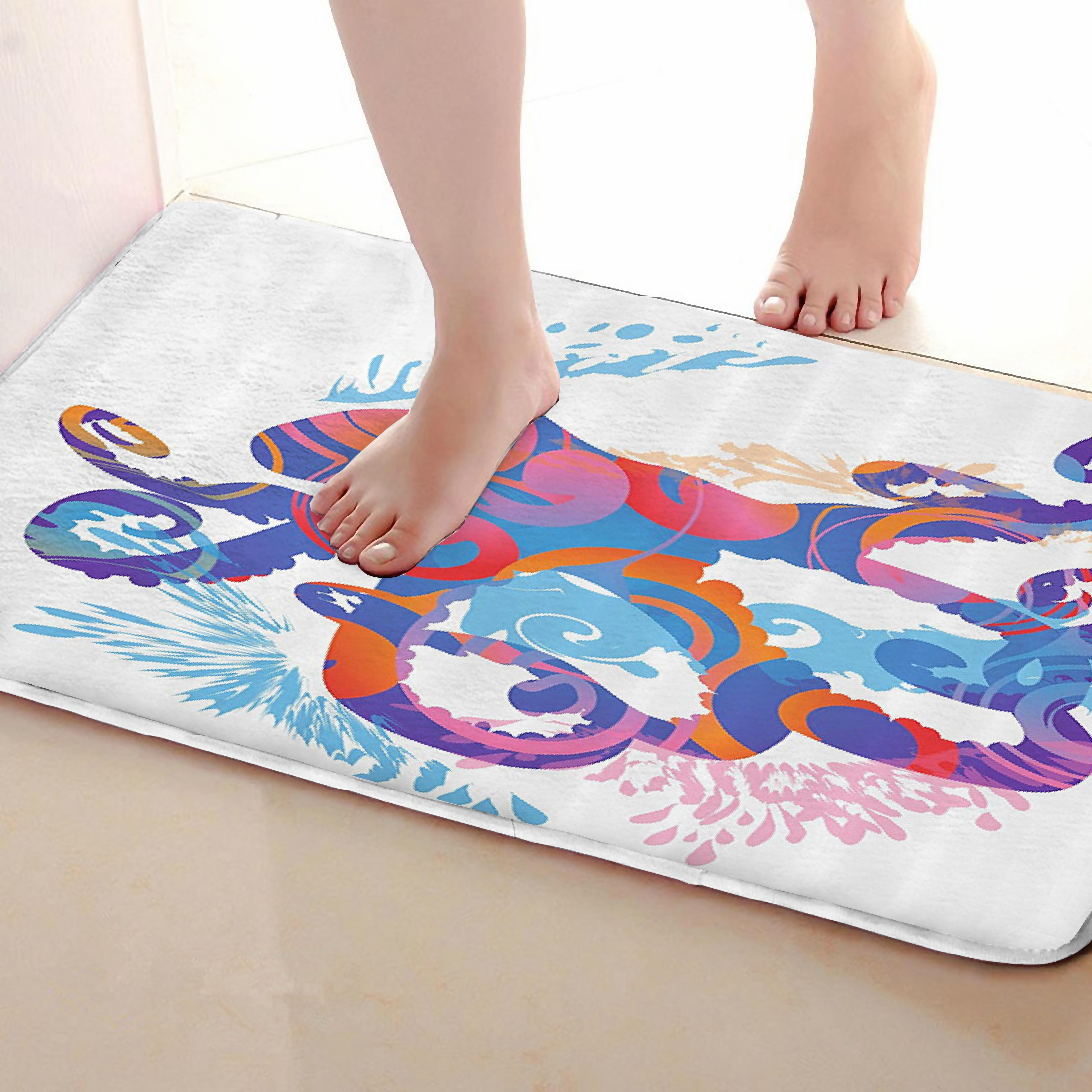 Octopus Style Bathroom Mat,Funny Anti Skid Bath Mat,Shower Curtains Accessories,Matching Your Shower Curtain