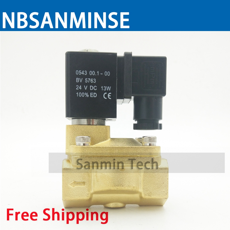 PU 225 Type 3/8 1/2 3/4 1 Electric Brass Water Solenoid Valve Low Pressure Air Water Pneumatic Steam On Best Sale Sanmin brass electric solenoid valve 2w 200 20 3 4 inch npt for air water valve 110v nc