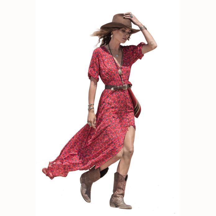 2017 Summer Style Women Long Dress V Neck Floral Print Chiffon Maxi Dress Casual Boho Party Dresses Vestidos Beach Dress
