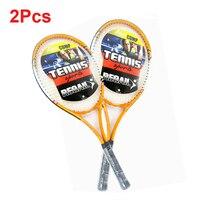 2 Pcs High Quality Regail Sports Tennis Racket Aluminum Alloy Adult Racquet with Racquet Bag for Beginners Orange / Blue Color