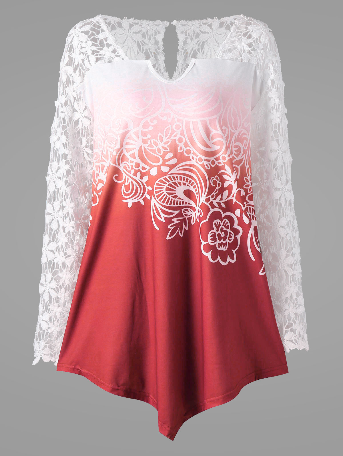 09a1d96aec6 2018 White Lace Long Sleeve Chiffon Blouse Women Tops Plus Size Summer  Floral Boho Shirt Elegant Ladies Blusas Femme XL-5XL