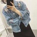 2016 em Estilo Europeu Hot Sale Da Moda Mulheres Tops Retro Bonito de Todos Os Jogo Bordado Flores Curto Solto Jaqueta Jeans 826B 25