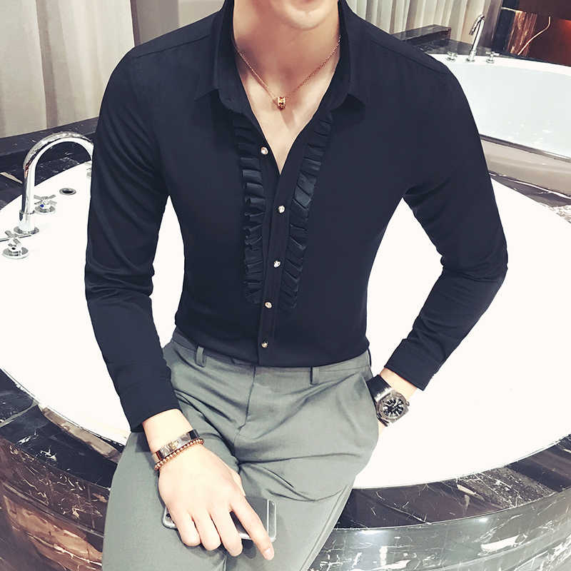 男性のシャツのファッションスリム無地長袖シャツナイトクラブバー理髪シャツハイエンドビジネスカジュアルイブニングドレスシャツ