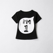 children 100cotton short sleeves tshirts boy girls cartoon birthday t shirt 1st