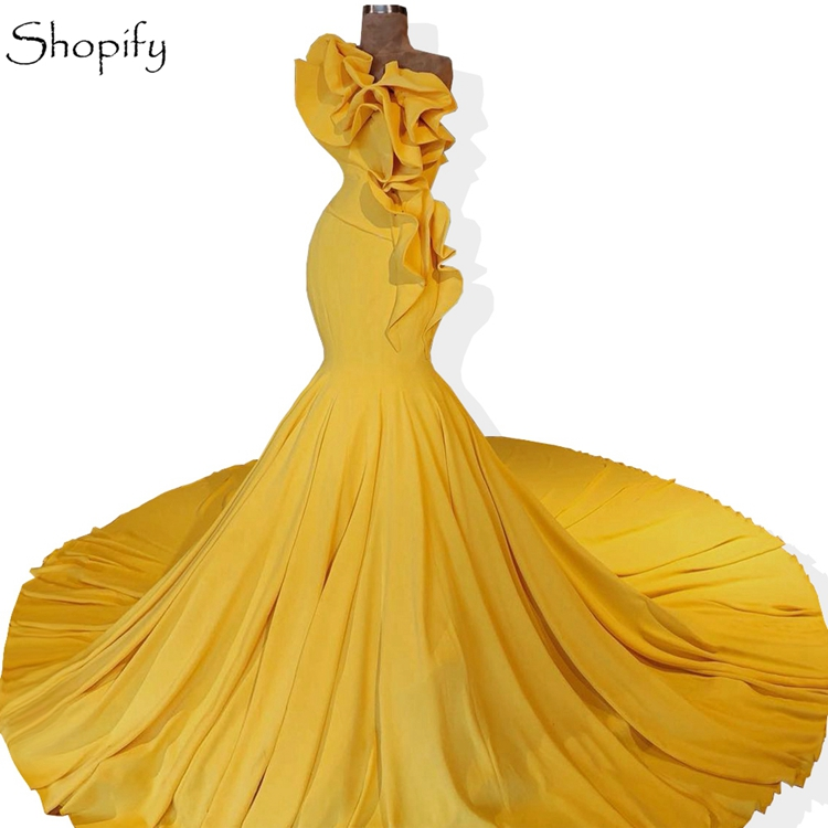 Gorgeous Long Evening Dresses 2018 Mermaid One Shoulder Arabic Lebanon  Style Gold Formal Women Evening Gowns ff15562c8320
