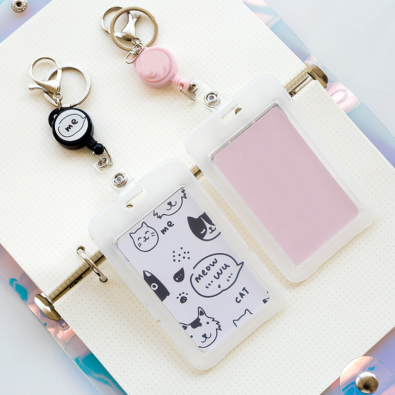 Kawaii Cat Retractable Badge Holder For Work Transparent Id Holder Name Tag Holder Retractable Key Chain