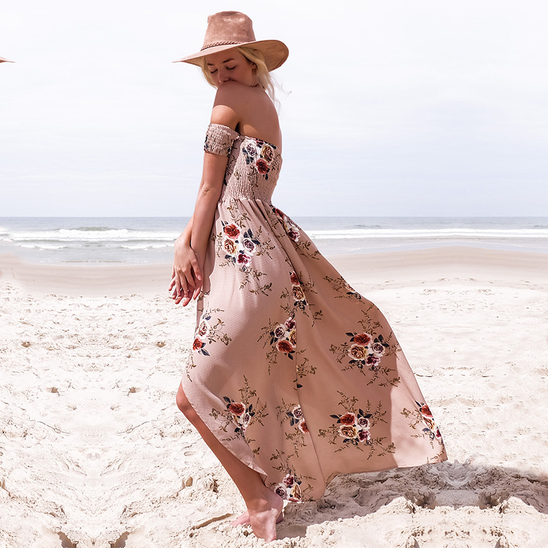 Boho style long dress women Off shoulder beach summer dresses Floral print Vintage chiffon white maxi dress vestidos de festa 7