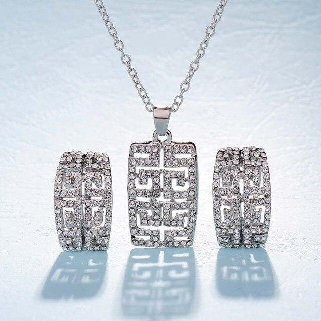 Hot sale Geometric Square Hollow Pendant Necklace earring Jewelry Set  Fashion Gold-color Fill Full 46e0e4bb0979